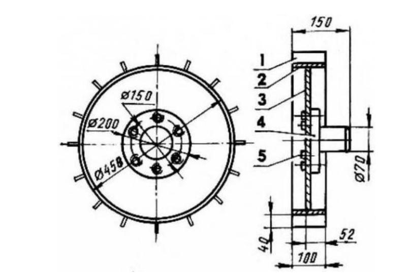 Чертеж металличекского колеса для мотокультиватора