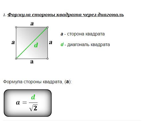 Формула стороны квадрата