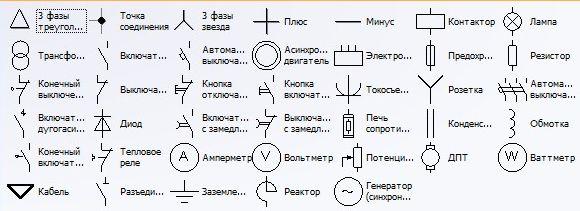 Элементы принципиальных схем
